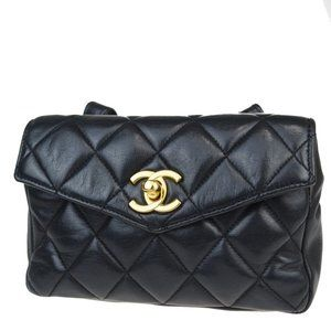 CHANEL CC Logo Quilted Chain Bum Bag Leather Black